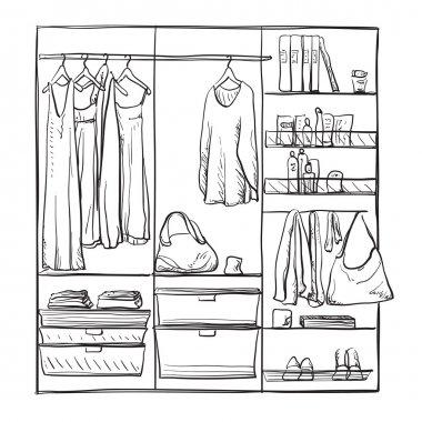 Hand drawn wardrobe sketch.