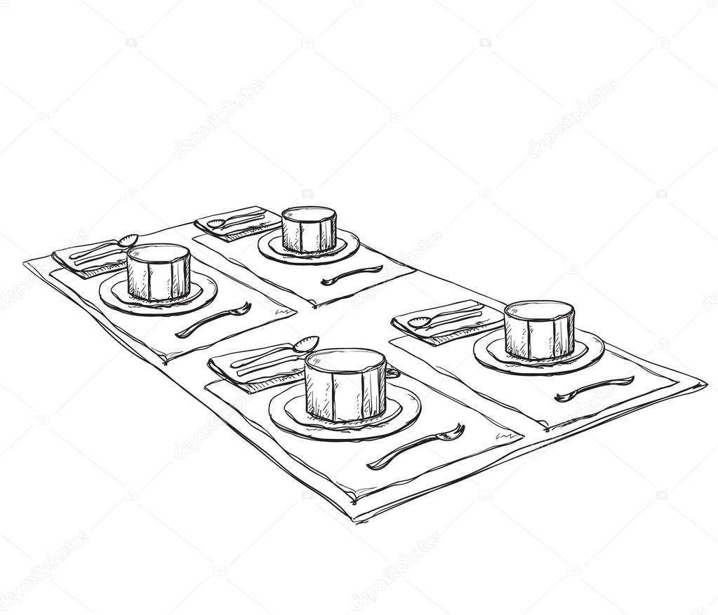 Tisch gezeichnet  gezeichnet waren. Gedeckten Tisch — Stockvektor #121794242
