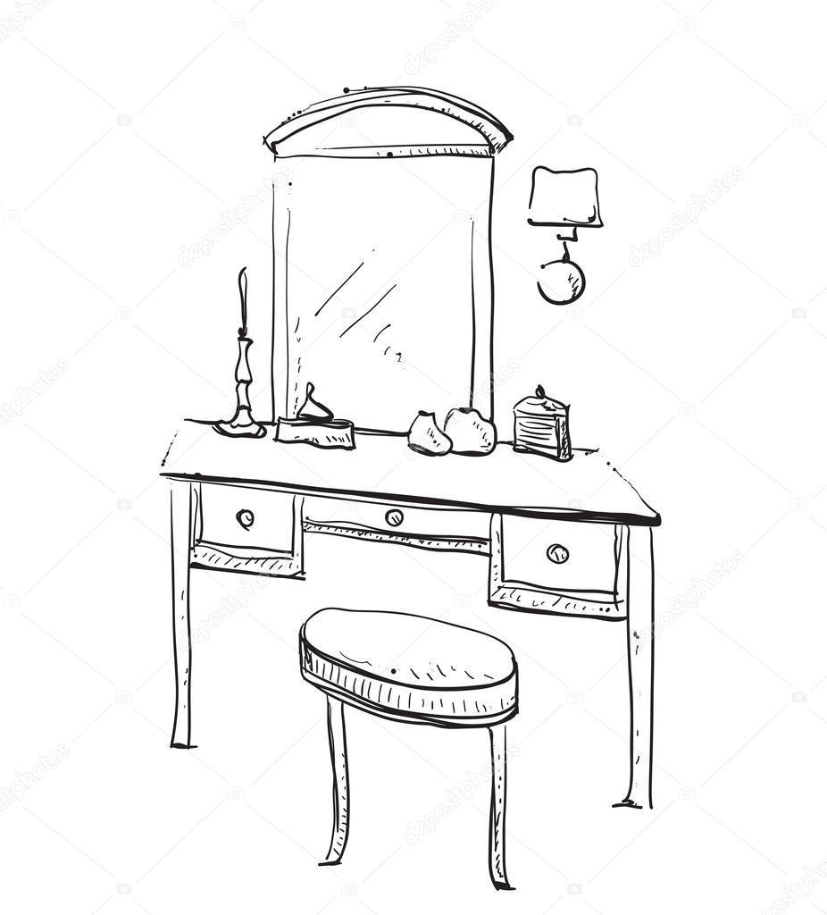 Stuhl gezeichnet  gezeichnet Stuhl, Tisch und Spiegel — Stockvektor #121802480