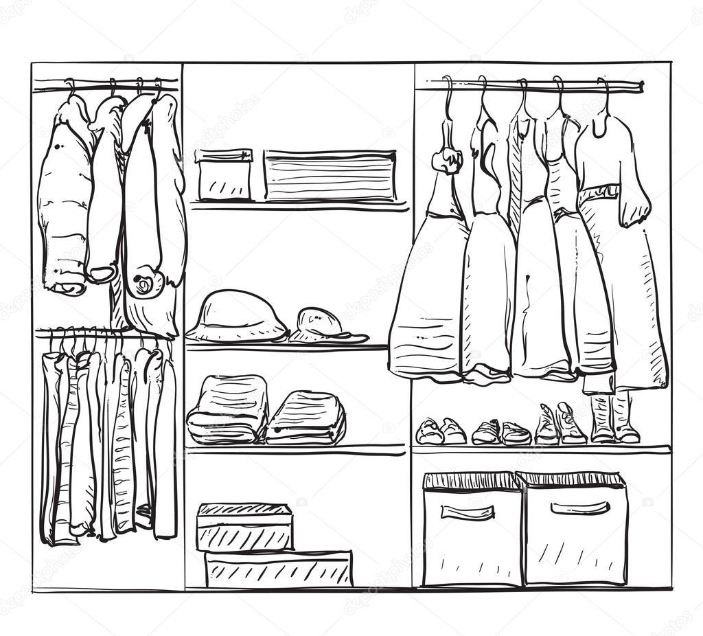 Kleiderschrank gezeichnet  gezogene Kleiderschrank-Skizze — Stockvektor #121804268