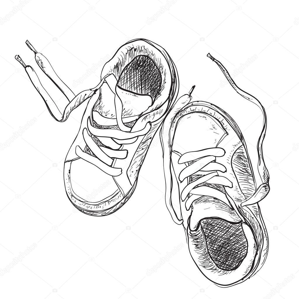 Hand Gezeichneten Paar Kinder Schuhe Stockvektor C Yuliia25 122099152