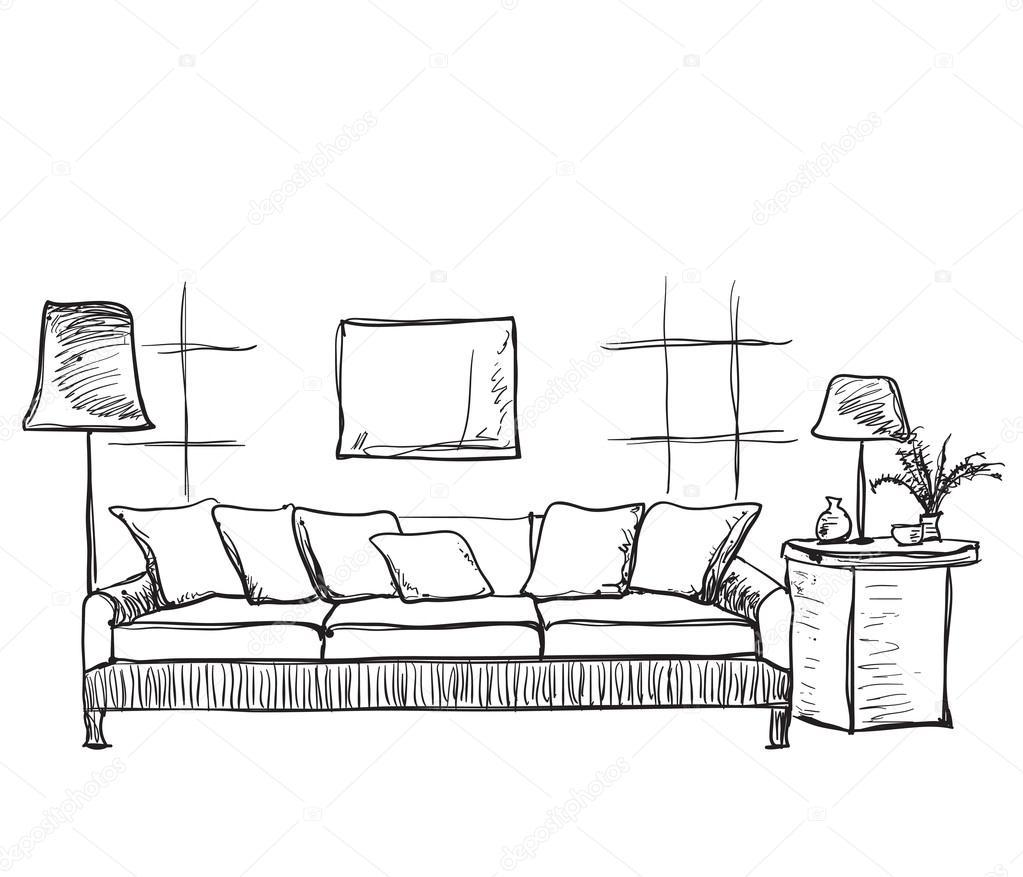 Dibujo interior de la habitaci n sof dibujado mano for Couch zeichnen