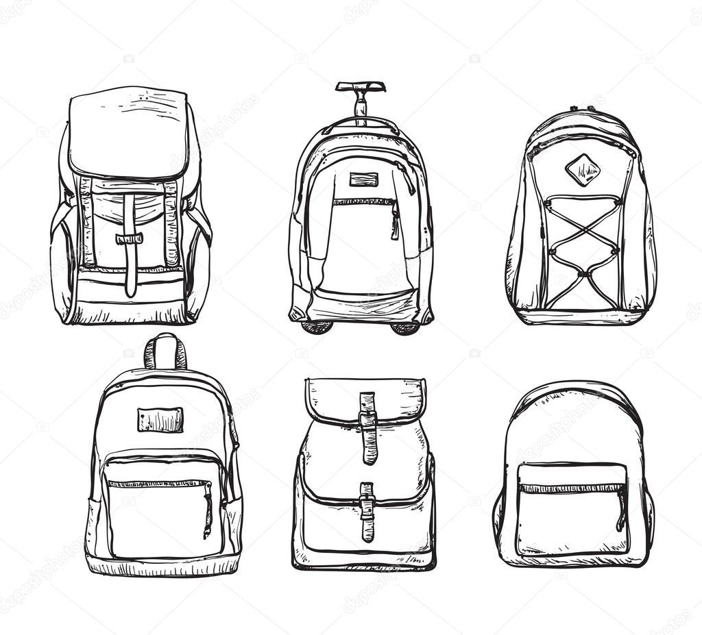 4ac3e82f8cf Een verzameling van verschillende soorten rugzakken. Tas voor reizen —  Vector van ...