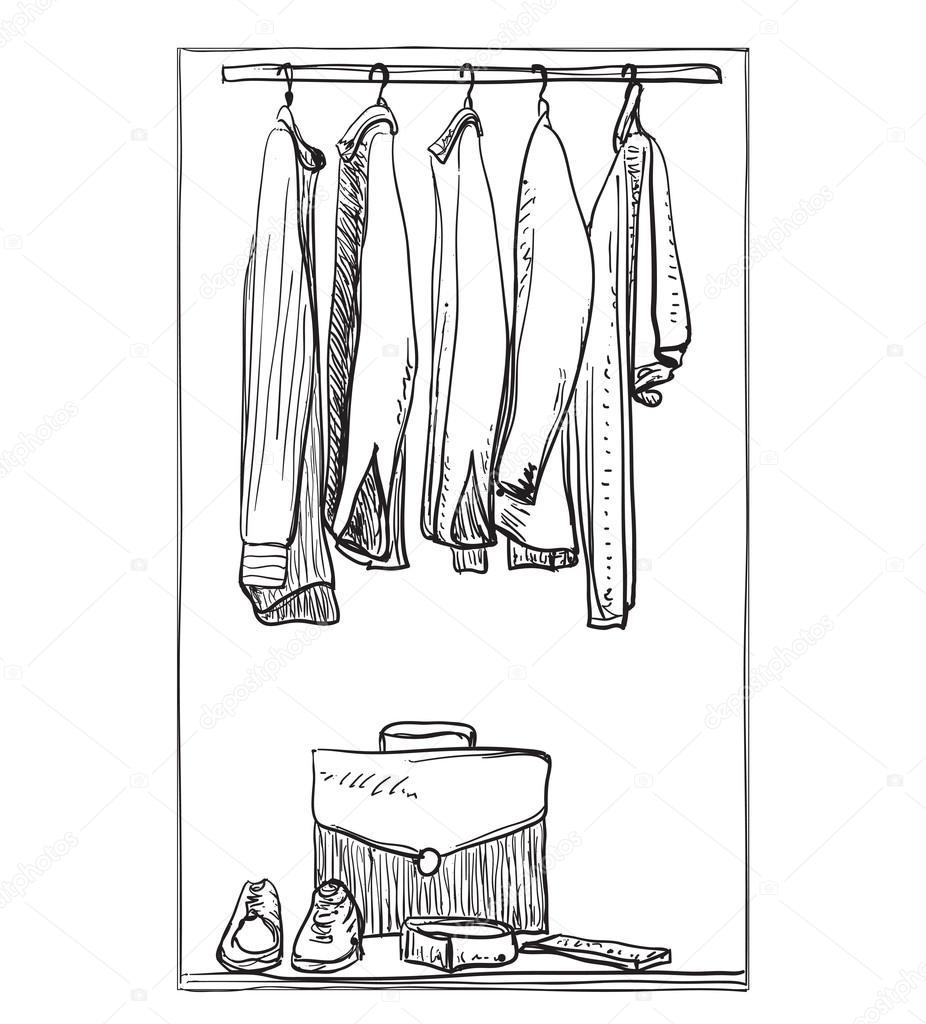 Kleiderschrank gezeichnet  gezeichnete Kleiderschrank. Kleidung für Mann — Stockvektor #122368140