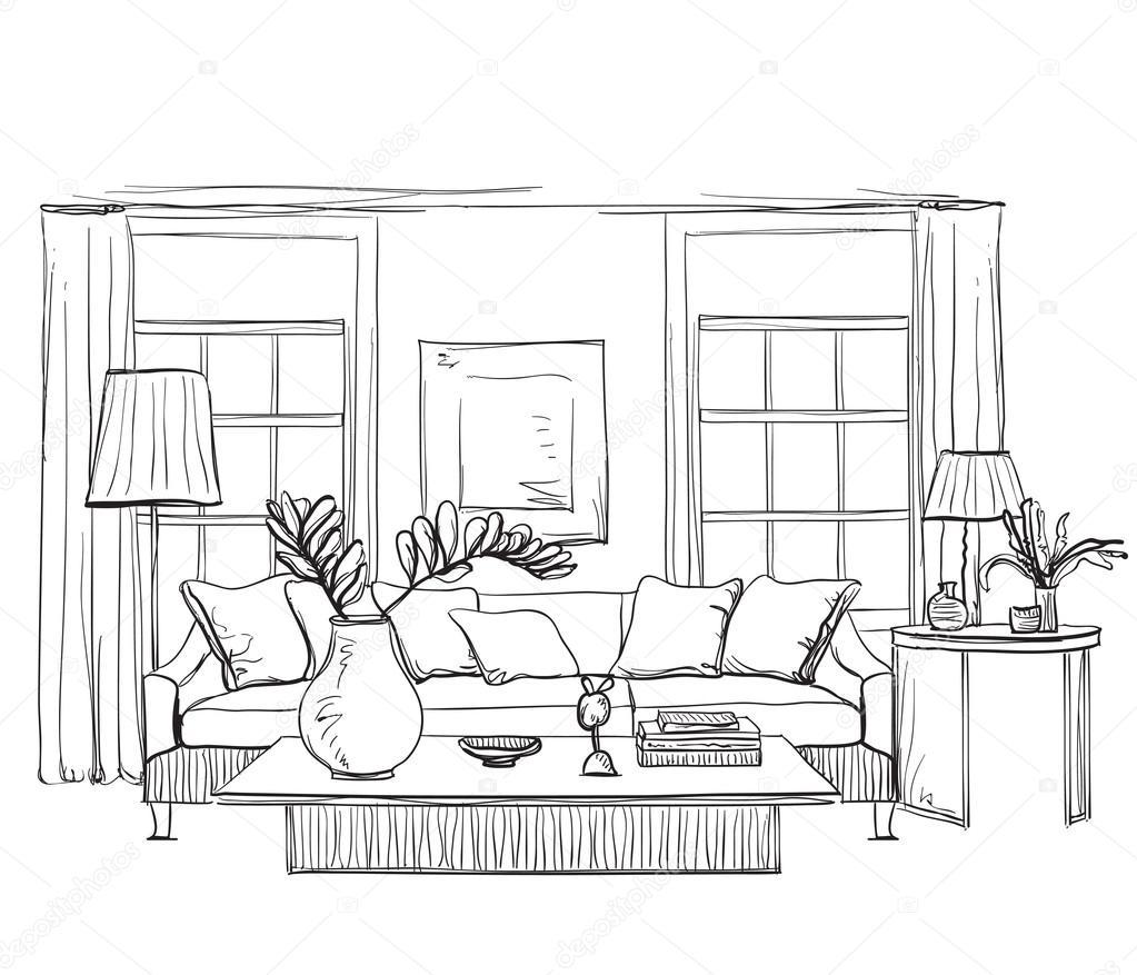 Dibujo interior de habitaci n dibujada mano vector de - Habitacion para colorear ...