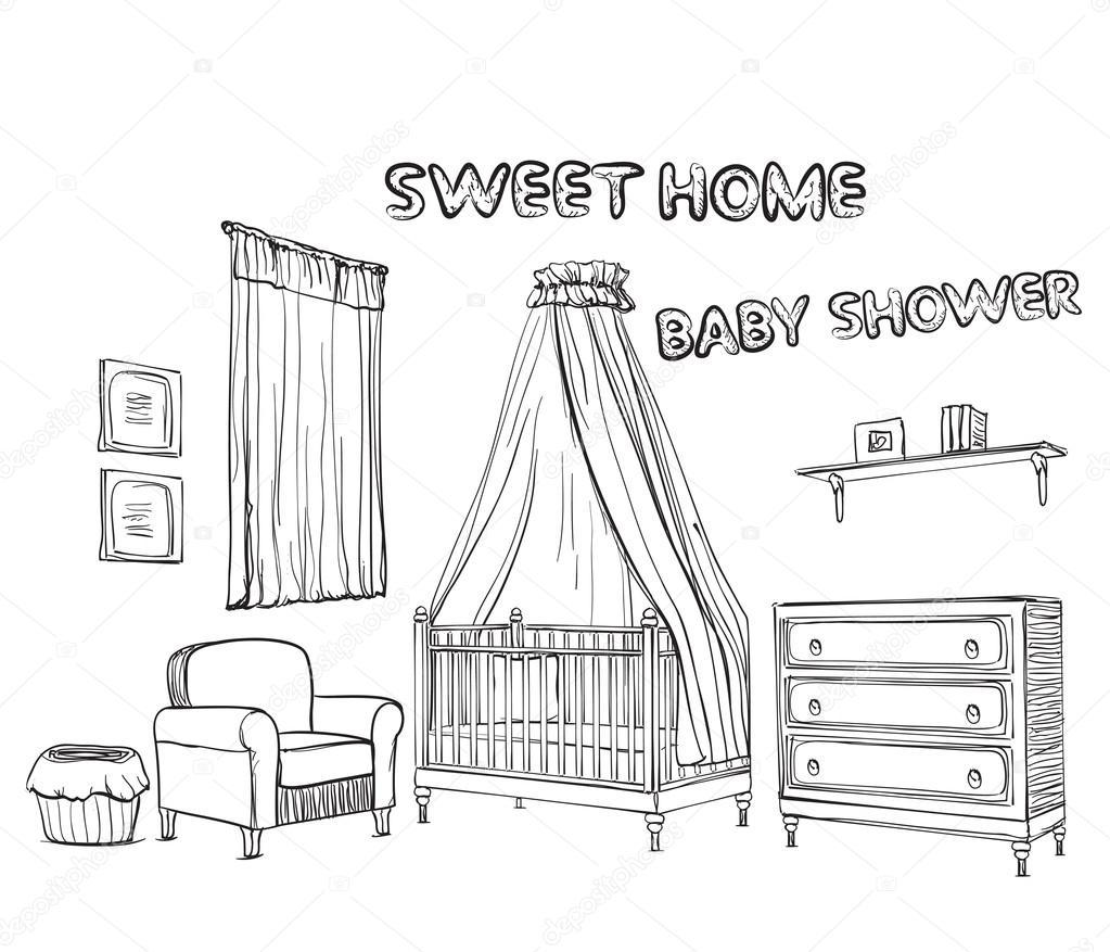 Vektor Set Von Hand Gezeichnete Und Isolierte Skizzen Mobel Fur Kinderzimmer Yuliia25