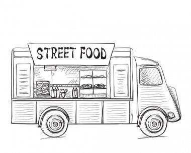 Hand drawn food truck. Street food poster. stock vector