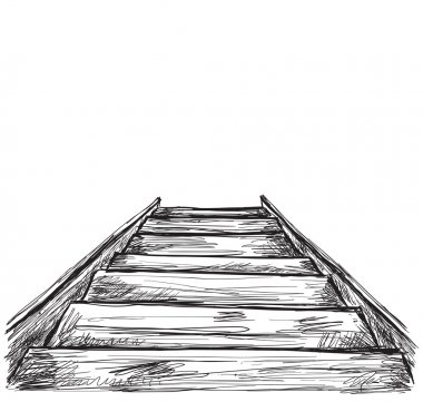 Hand drawn stairs sketch.