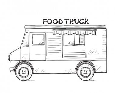 Hand drawn food truck.