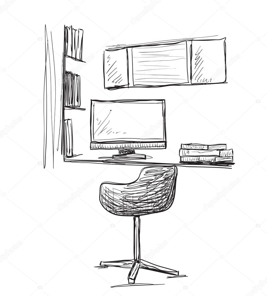 Hand drawn workplace. Chair and computer 10