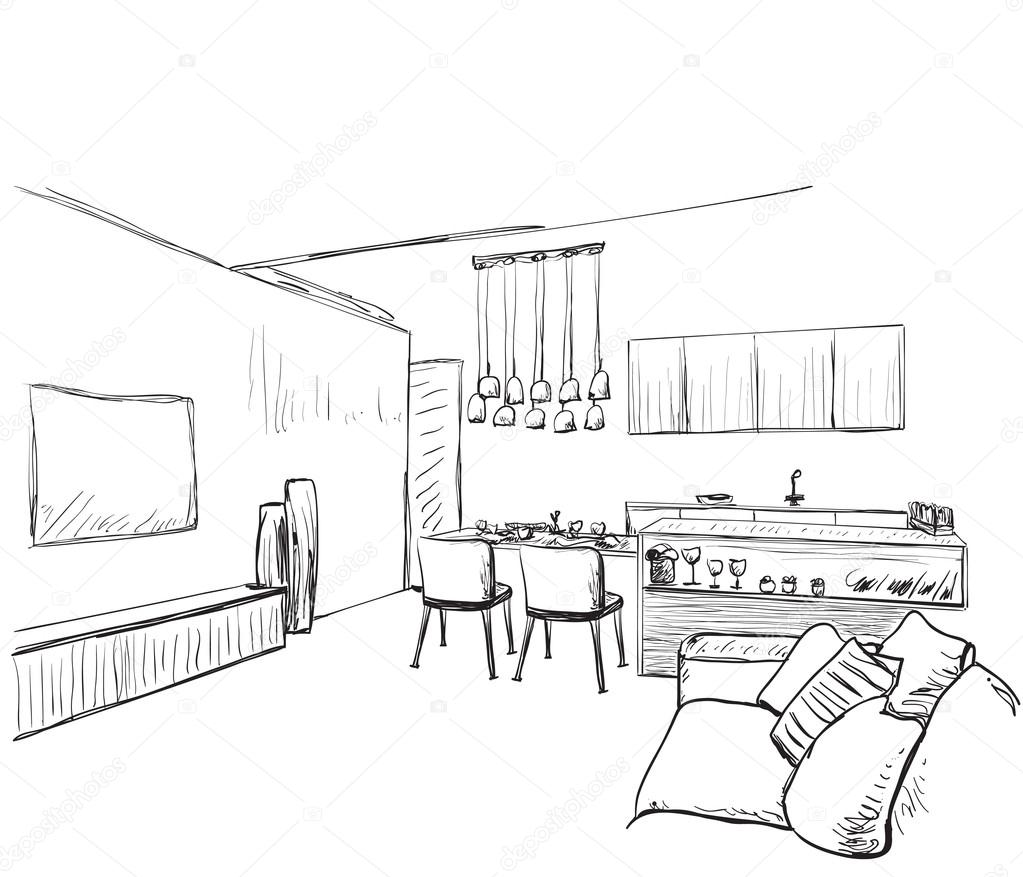 Modern Interior Room Sketch. Hand Drawn Furniture