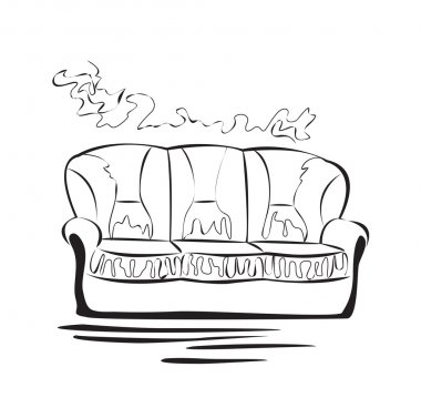 Hand drawn sketch sofa card.