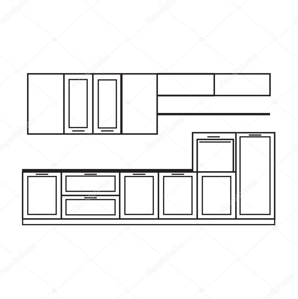 Interiore di disegno della cucina — Vettoriali Stock © Yuliia25 ...