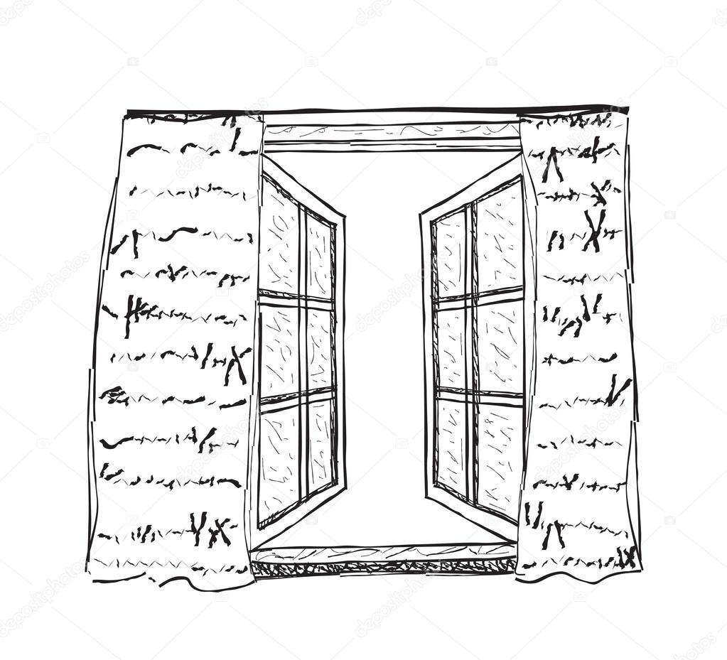 Ilustra o de janela aberta vetores de stock yuliia25 for Disegno di finestra aperta