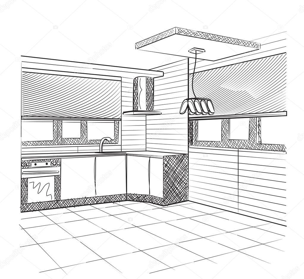 Sketch Of A Kitchen Interior Stock Vector C Yuliia25 92682328