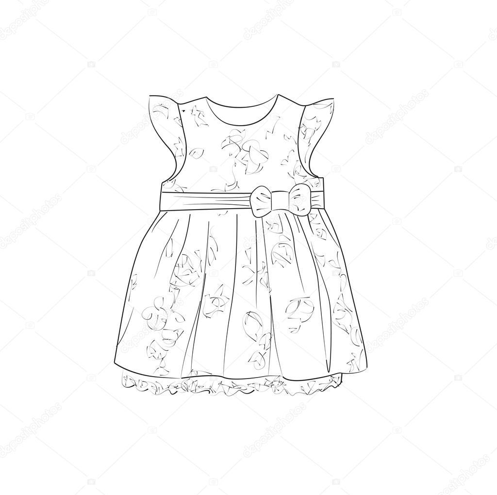 Bocetos De Vestidos Para Niñas Boceto De Vestido De Bebé