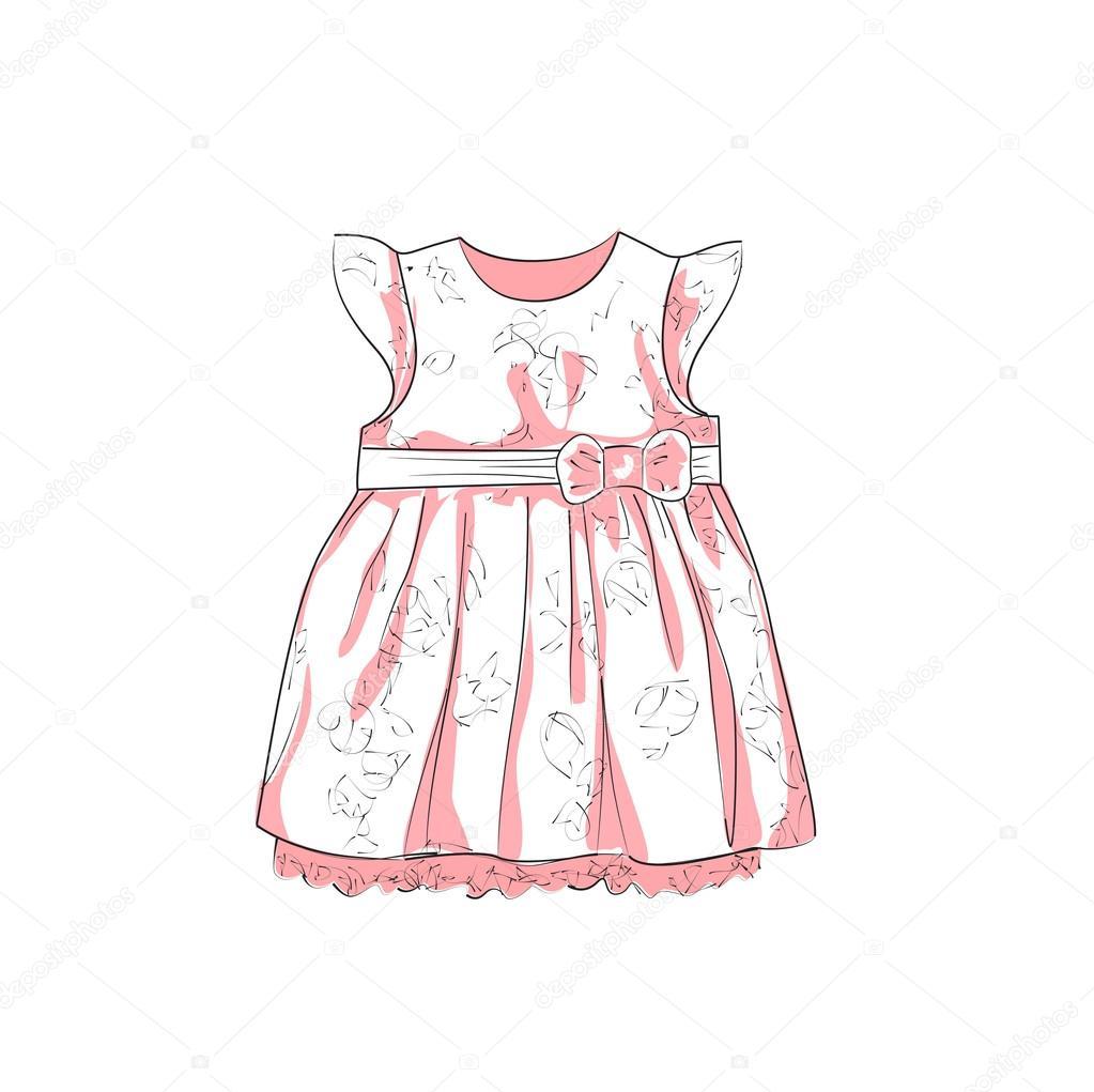 Платье девочка вектор