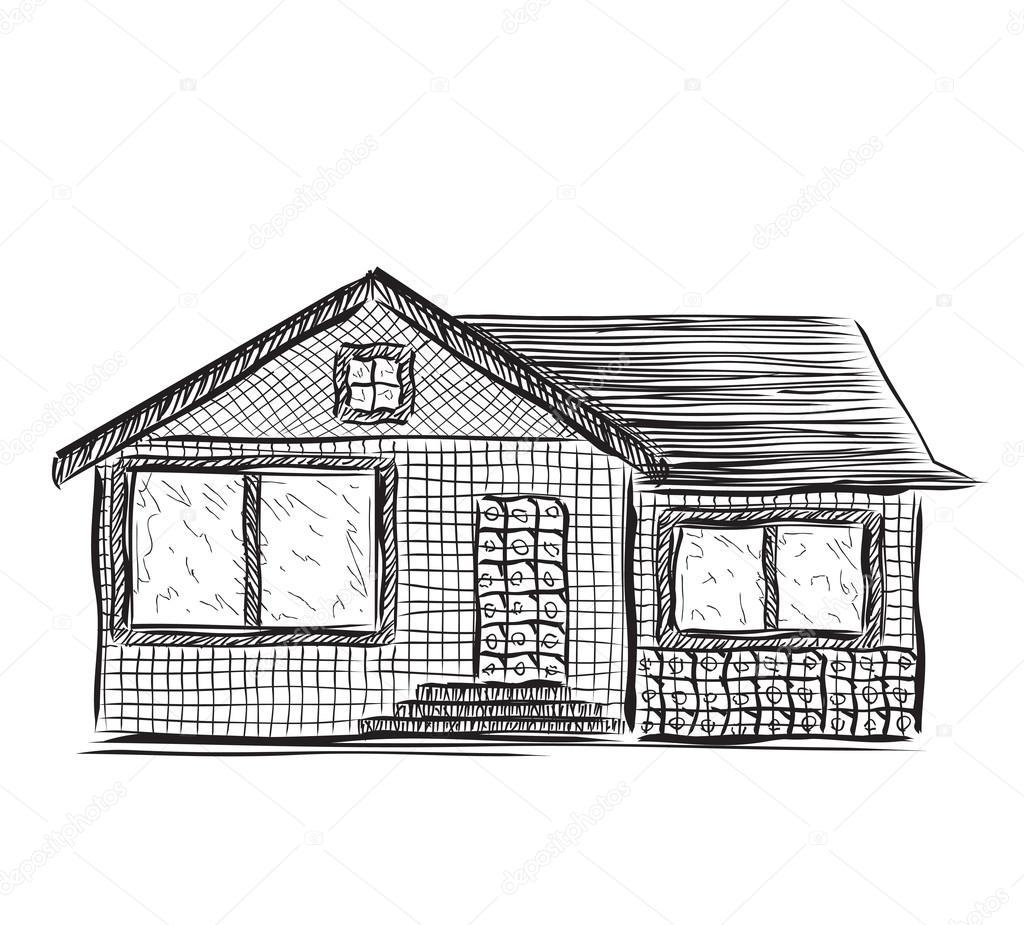 Zeichnung Hauser Skizze Stockvektor C Yuliia25 92687894