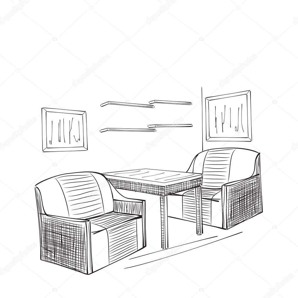 Platz Fur Die Lesung Mit Stuhl Skizze Stockvektor