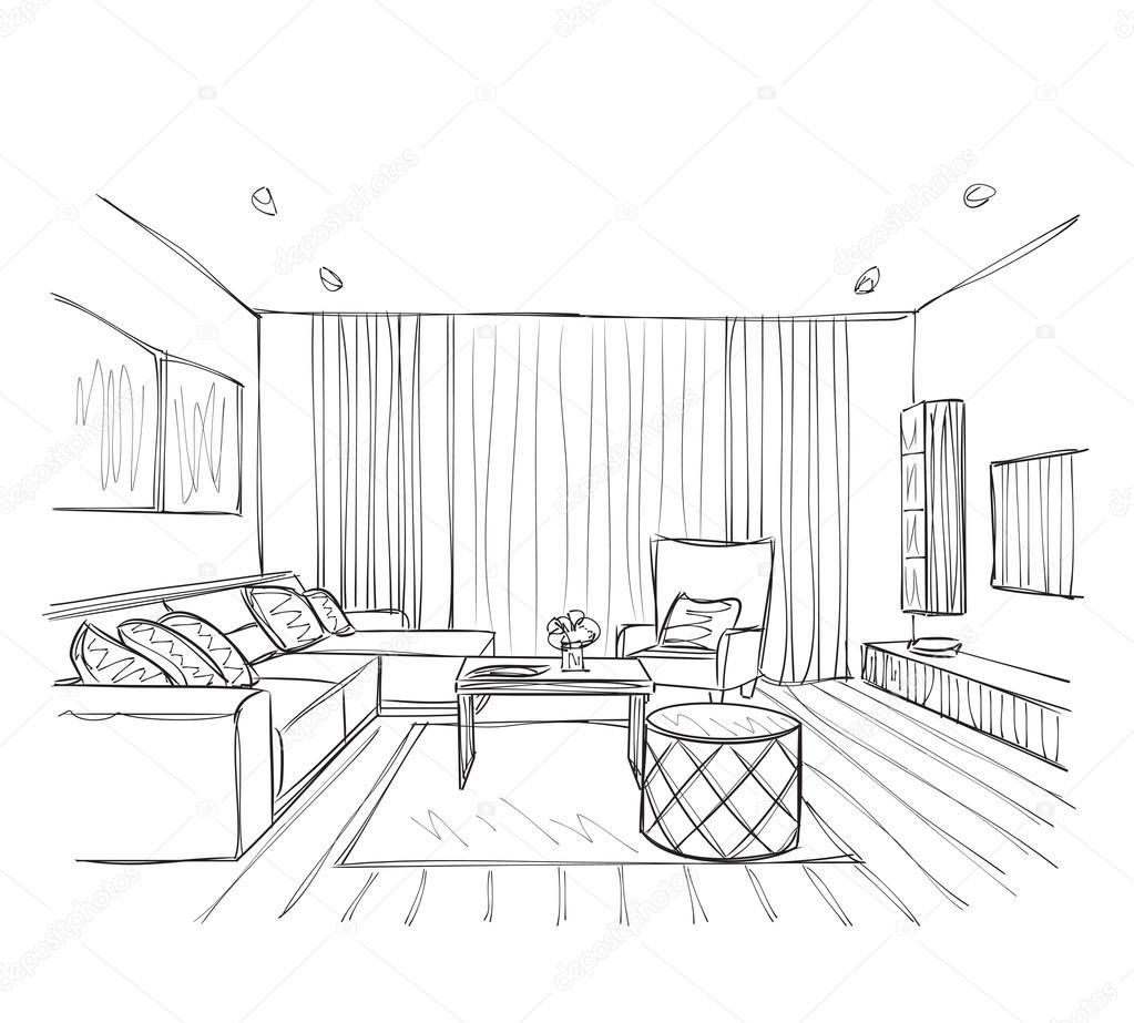 Szkic wn trza pi kny pok j grafika wektorowa yuliia25 - Zimmer zeichnen ...