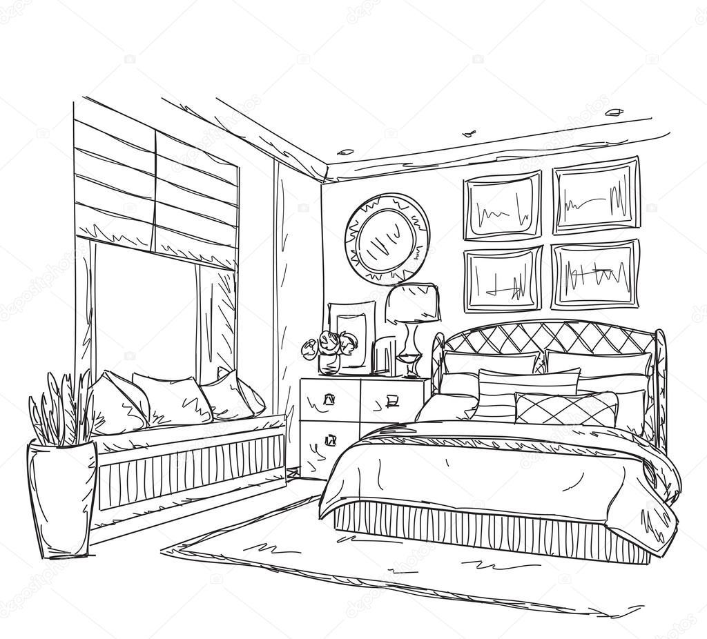Disegno interno moderno camera da letto — Vettoriali Stock ...