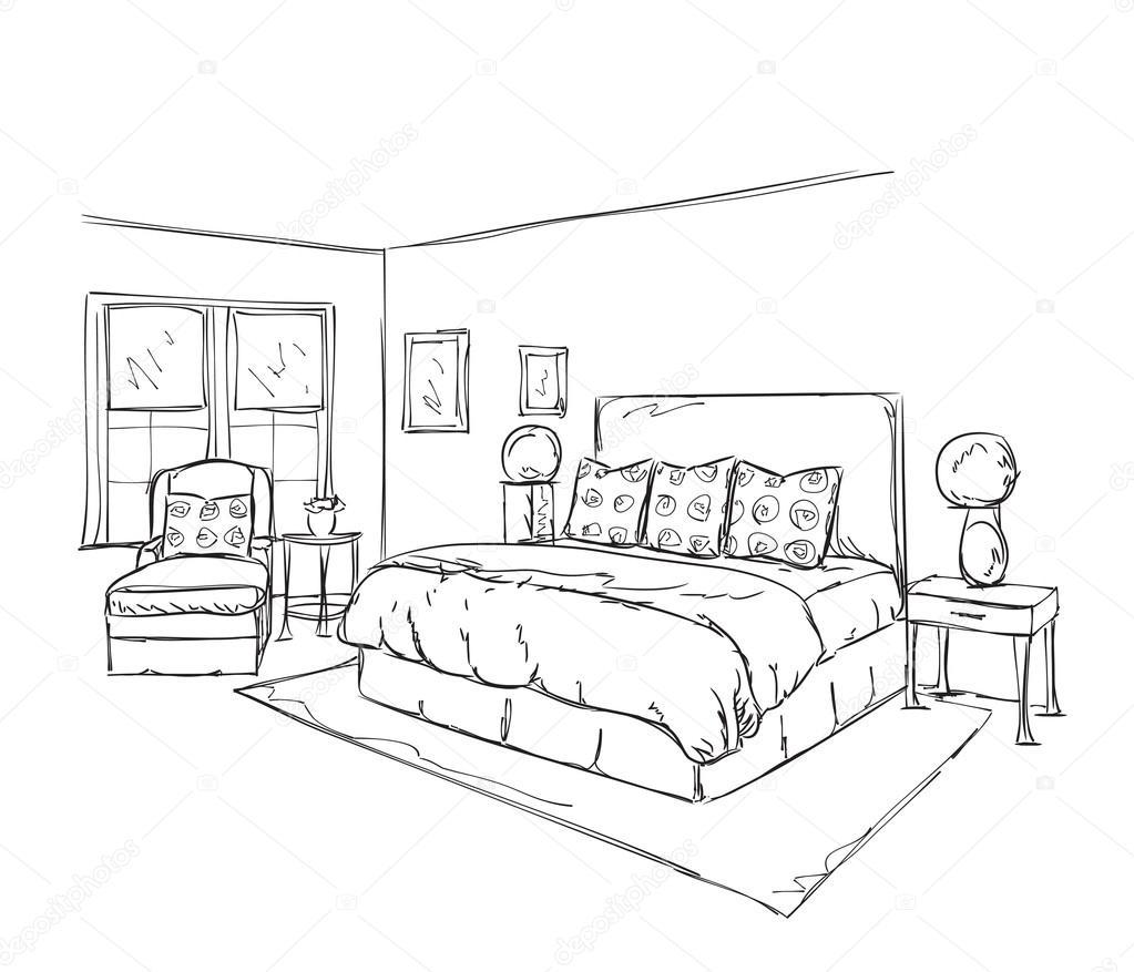 Disegno interno moderno camera da letto vettoriali stock - Camera da letto dwg ...