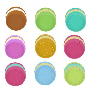 Colorful macaroons collection set of isolation on a white backgr