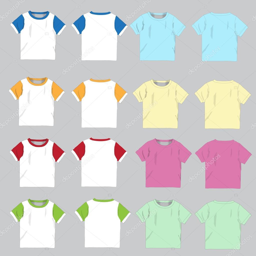 Leere T-shirt-Vorlage. Vorder- und Rückseite, Vektor-illustration ...
