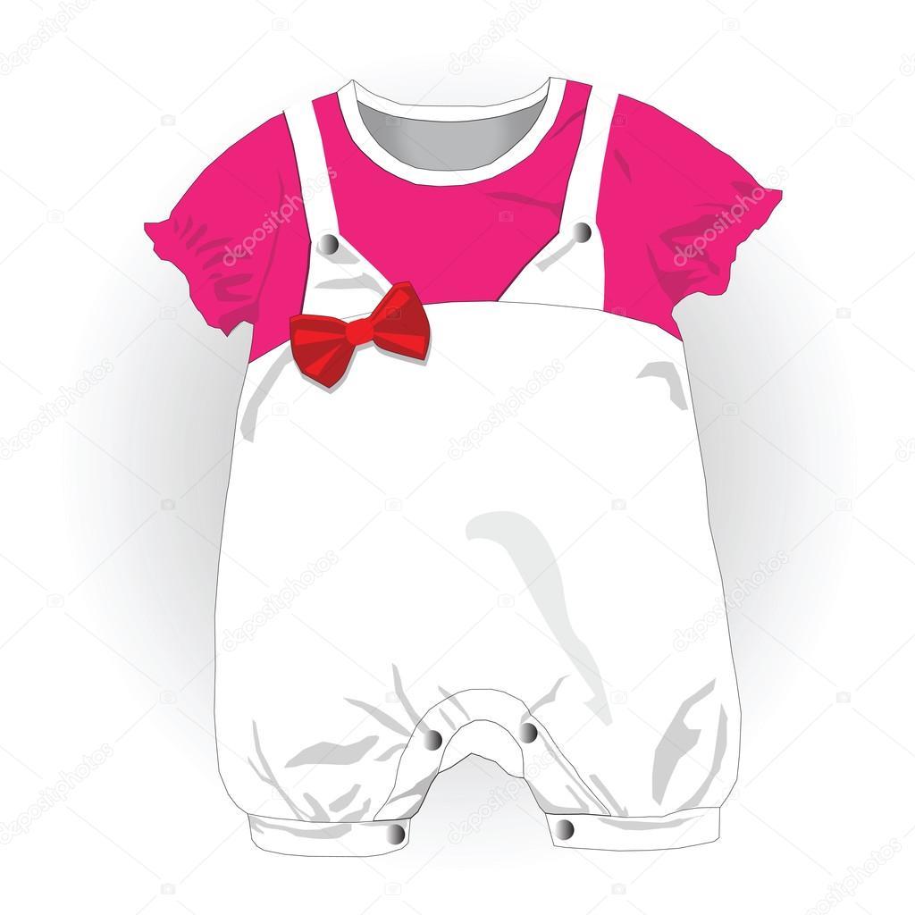 Mädchen Babykleidung, Vektor-illustration — Stockvektor ...