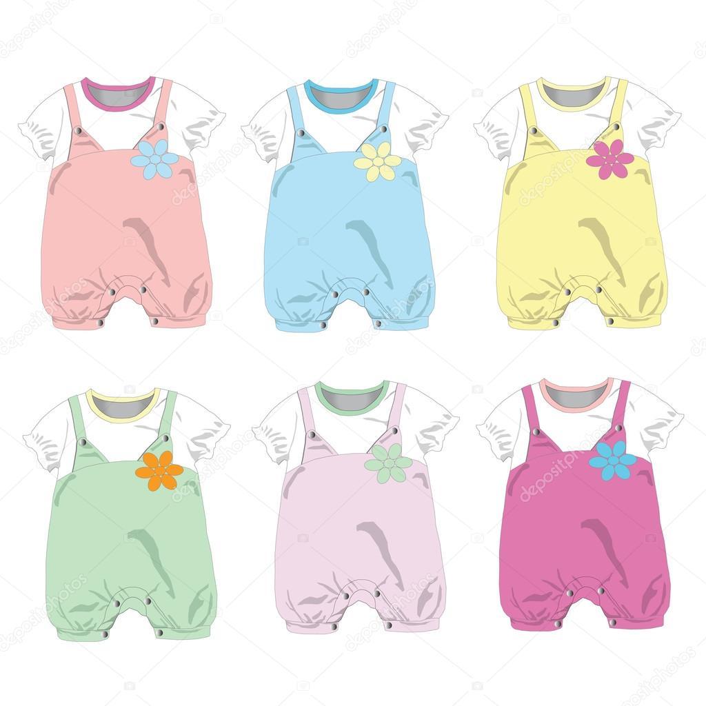 Satz von 6, Mädchen Babykleidung, Vektor-illustration — Stockvektor ...