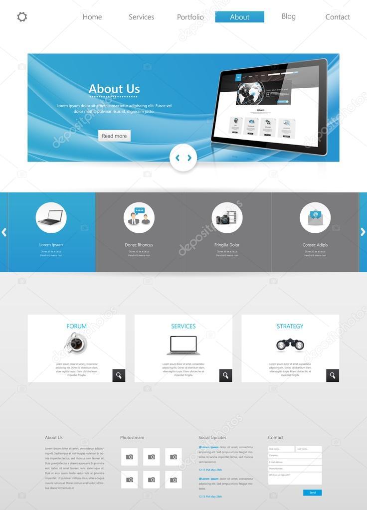 Modern Business Website Template-Design — Stockvektor © Droidworker ...