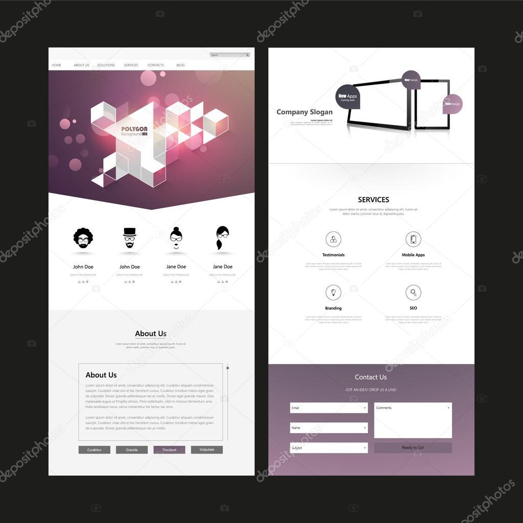 Seite Webseite Entwurfsvorlage — Stockvektor © Droidworker #102063540