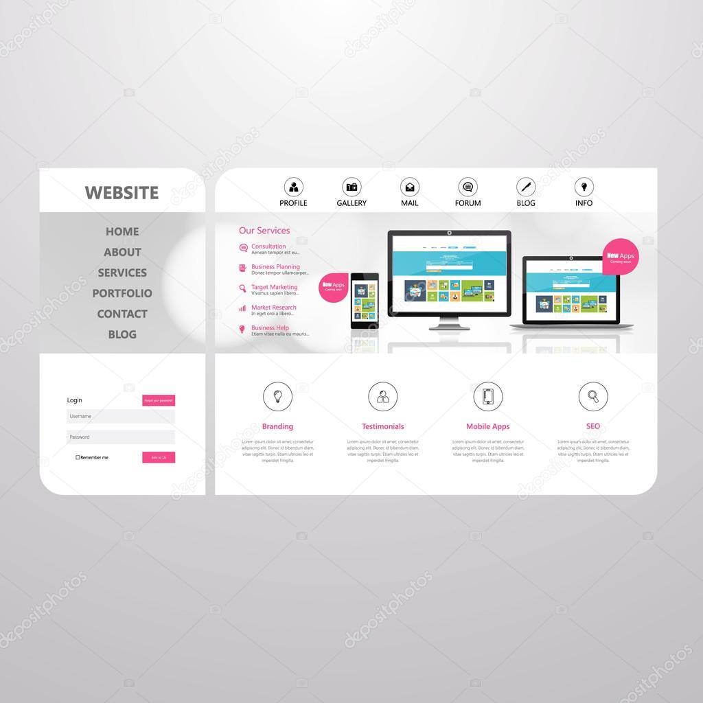 Minimalistische Business Webseite Entwurfsvorlage — Stockvektor ...
