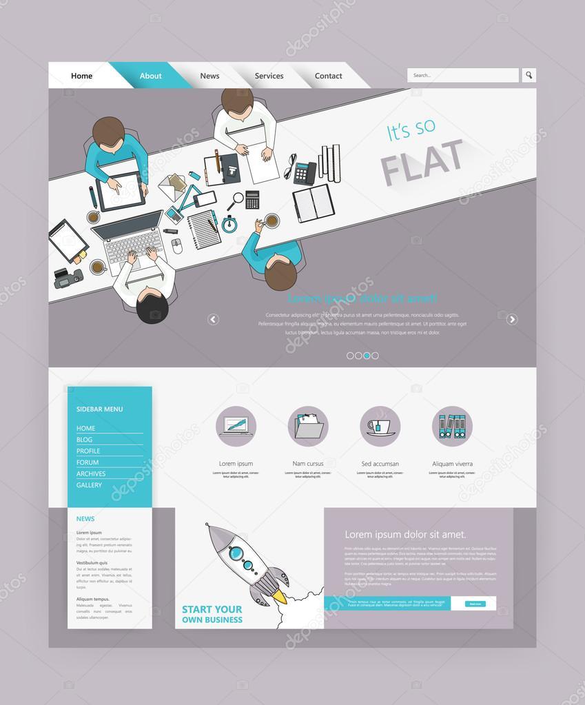 Minimalistische farbige moderne Website Vorlage — Stockvektor ...