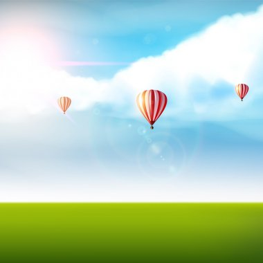 Cloudy blue sky with colorful air balloons and green land. Photorealistic Vector (not Traced)