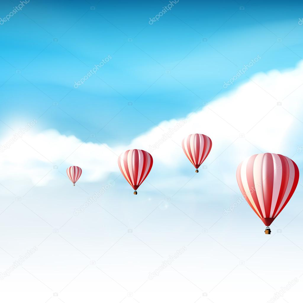 Hot-air balloons in the cloudy blue sky, Realistic Vector illustration (not traced)