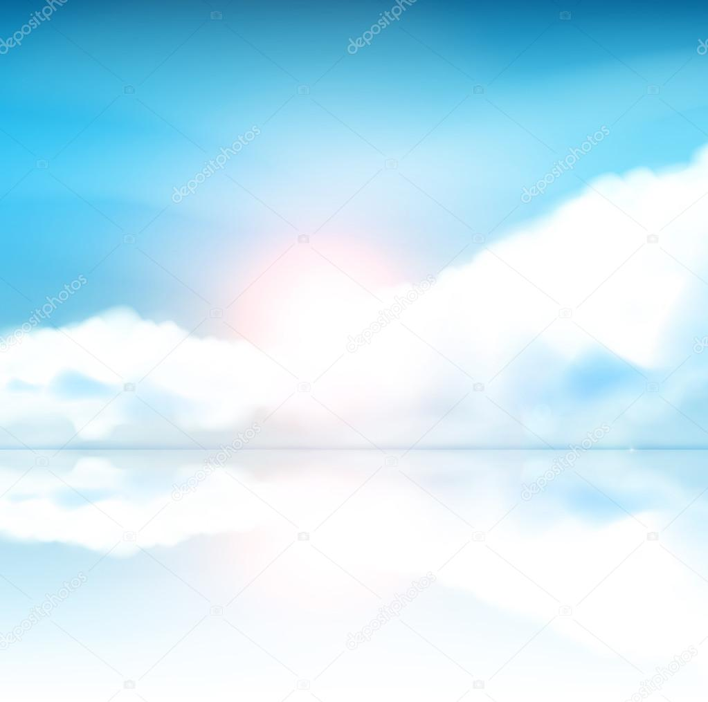 Fantasy Background Blue sky with clouds and sun reflection in water. Vector Illustration.