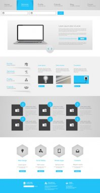 One Page Website Design Template Eps 10 Vector