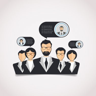 Flat style modern web info graphic corporate human relations (HR), teamwork