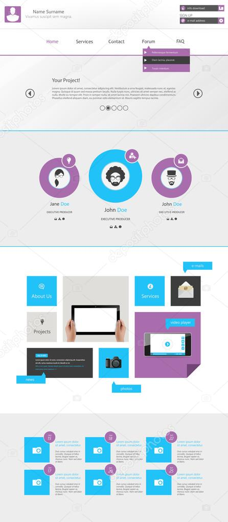Flat Modern Website Template, One page Design