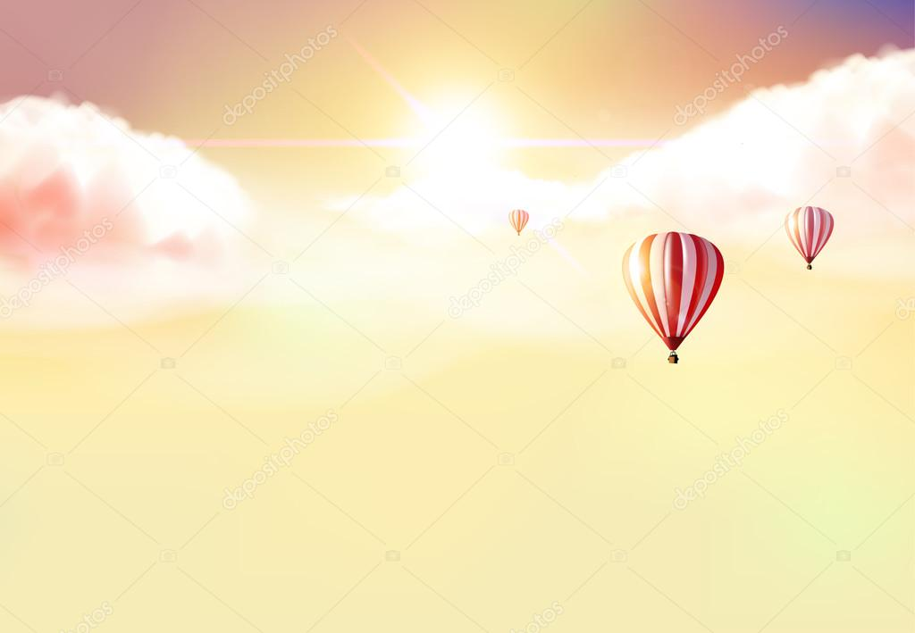 Fantasy Vector Background, Sunset and hot air ballons on cloudy sky.