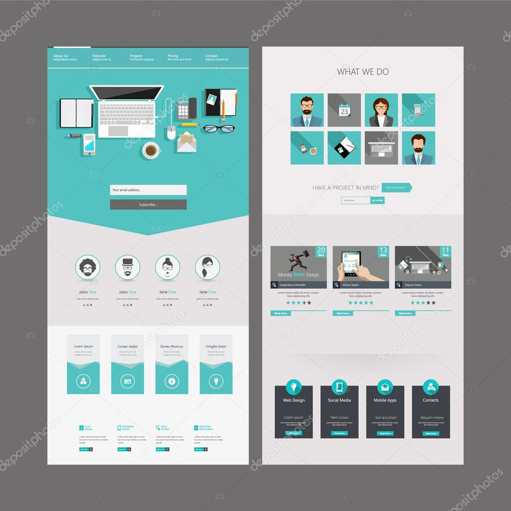 One Page Website Template and Header Designs stock vector