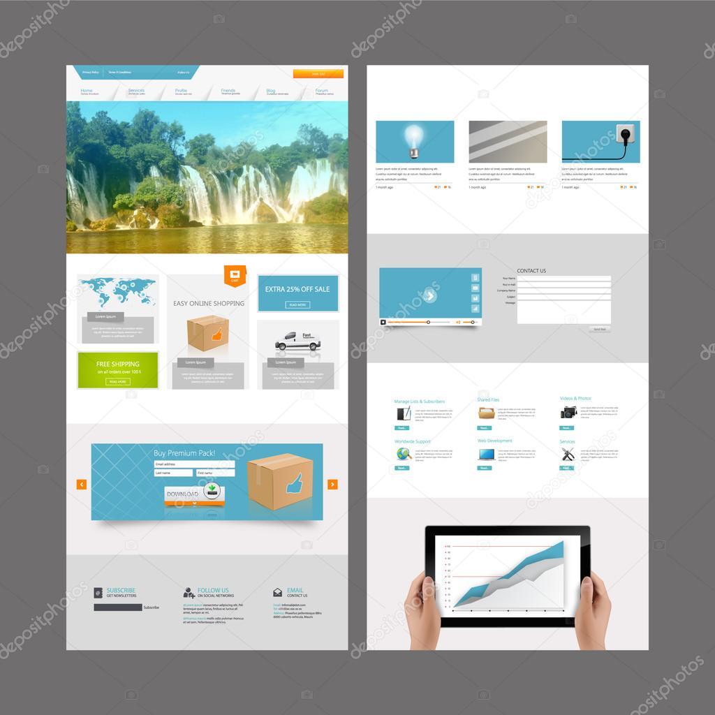 Plantilla de una página web y los diseños de encabezado — Vector de ...
