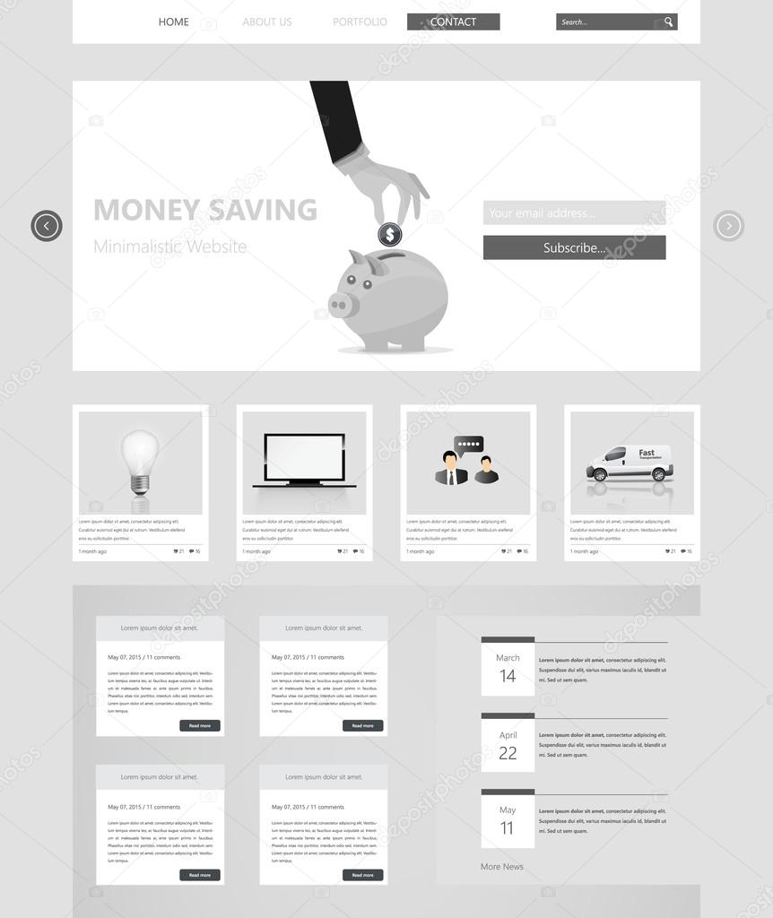 Minimal Grayscale vector website Template Design. — Stock Vector ...
