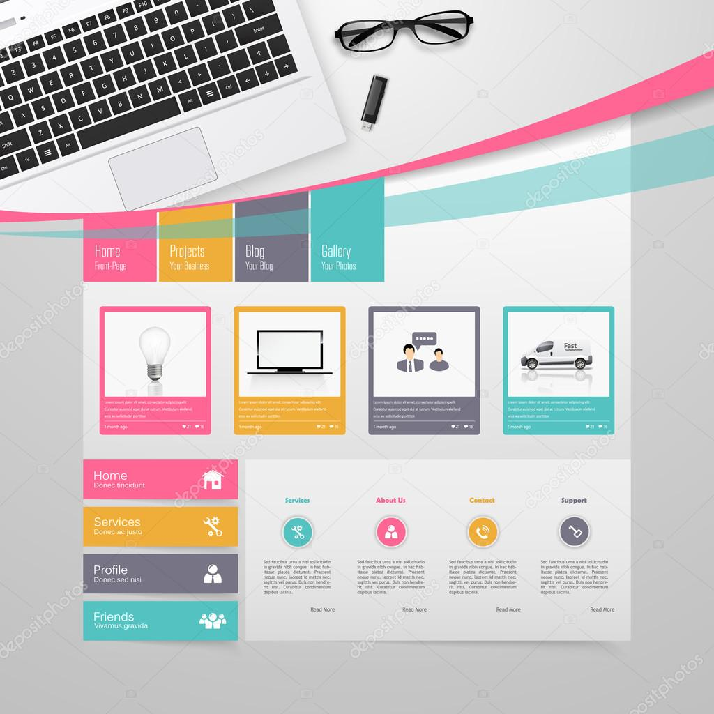 Colorful Website Template Design Vector — Stock Vector ...