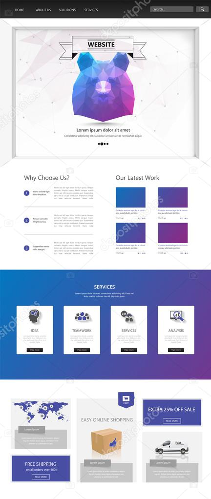 One Page Website Template. Vector illustration. — Stock Vector ...