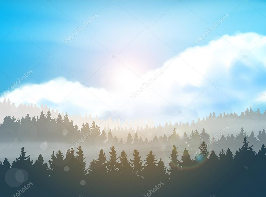 Modern shining landscape background with forest & mountains. Vector illustration