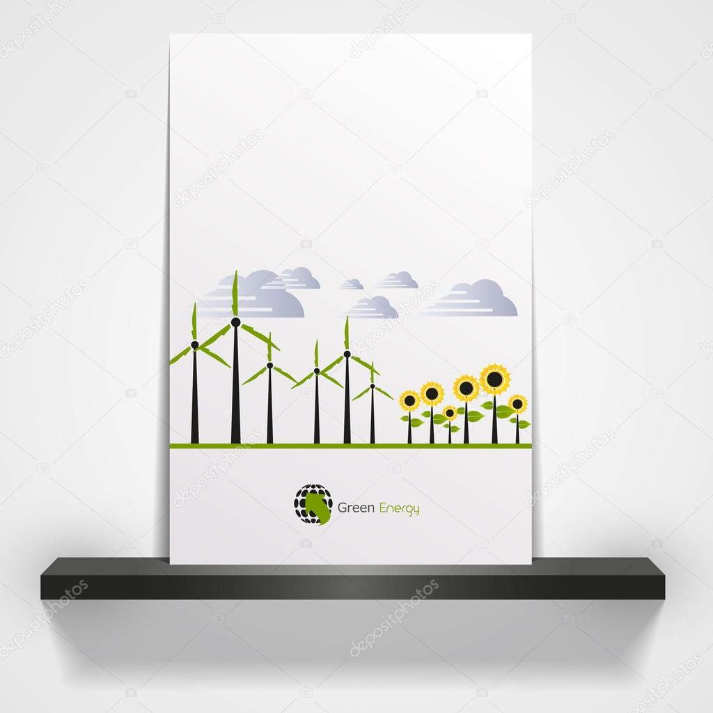 Wind Energy with wind turbines and sunflowers