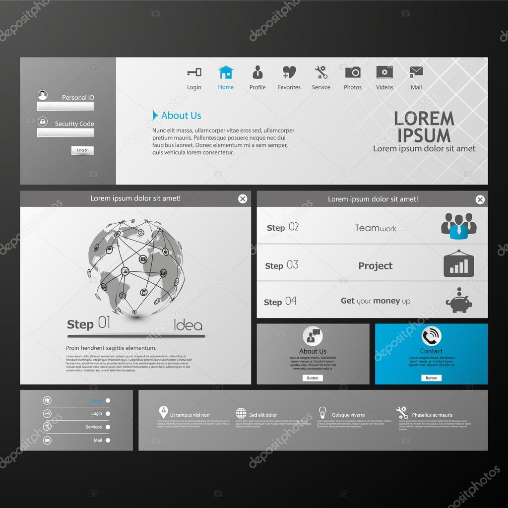 Saubere moderne Website Vorlage — Stockvektor © Droidworker #87579222