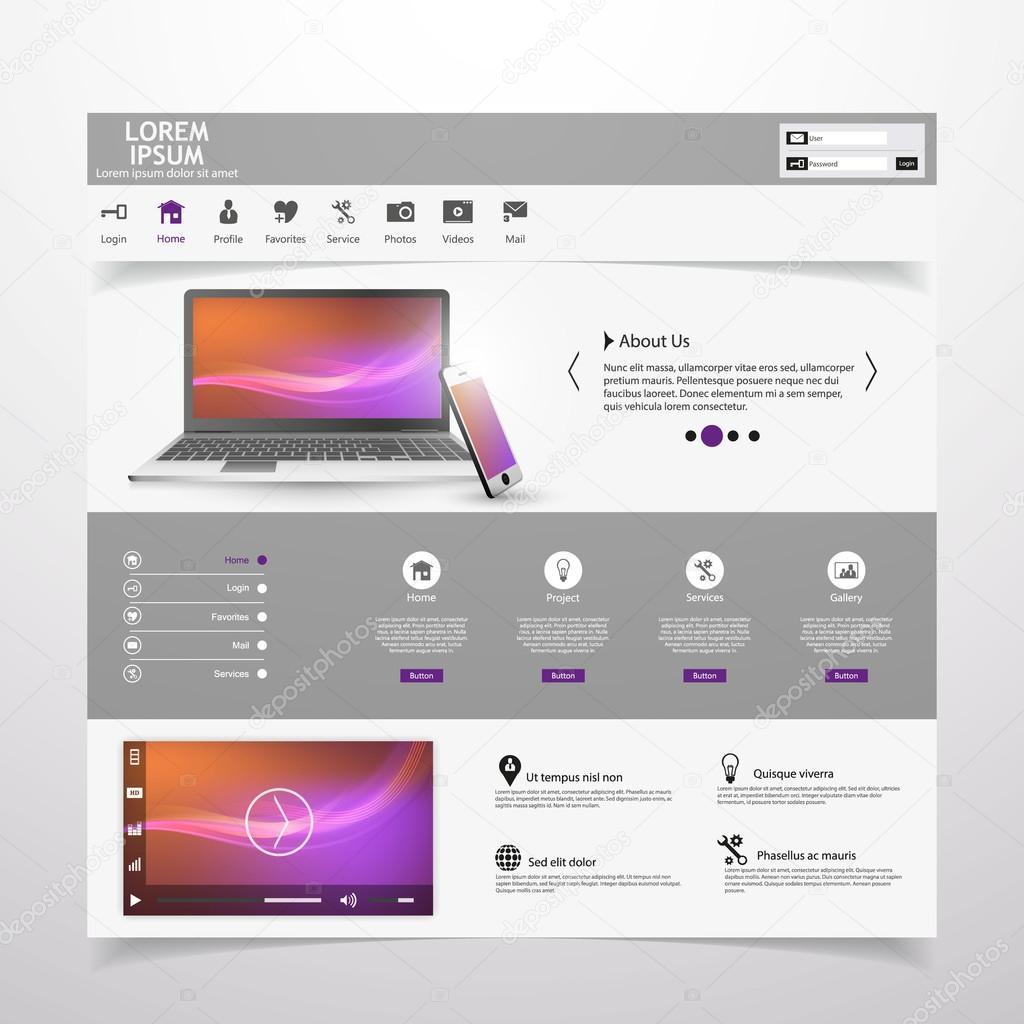 Moderne saubere Website Vorlage — Stockvektor © Droidworker #87579452